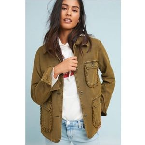 Anthropologie Army Green Ruffled Utility Jacket